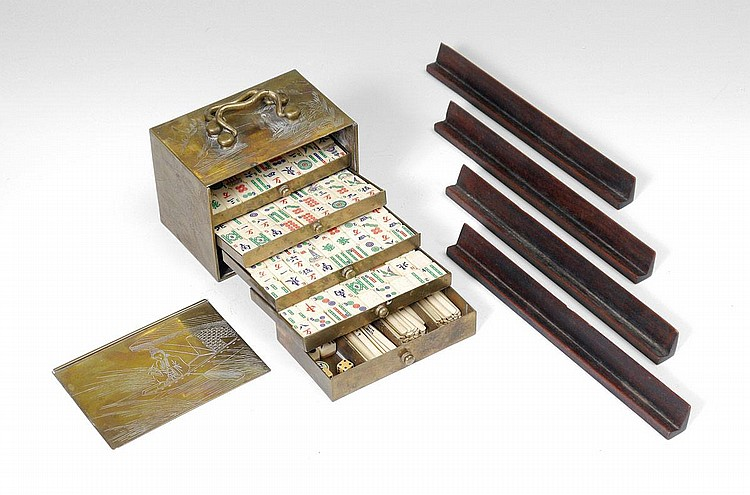 The brass box with 5 drawers, tiles and wood racks
