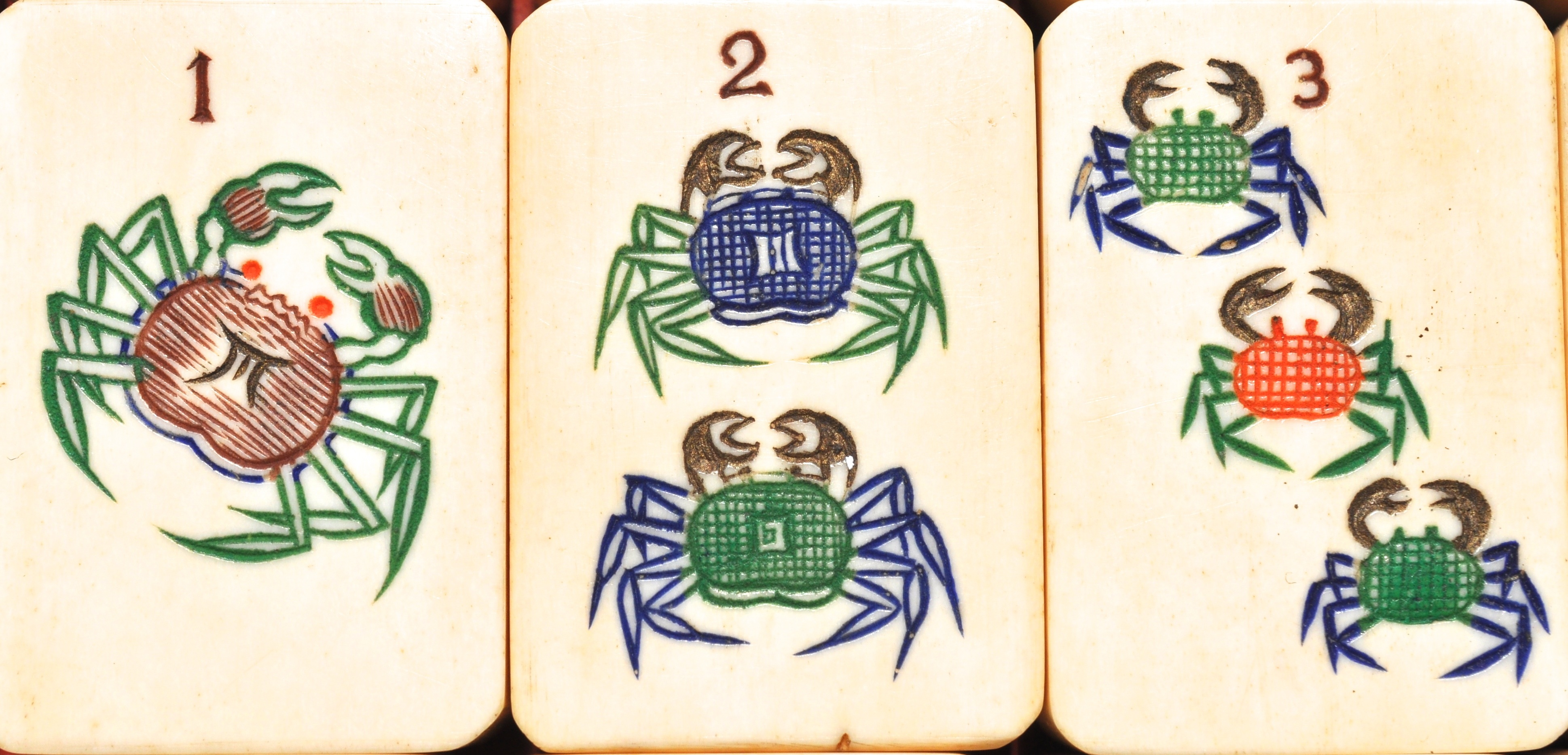 these crabs are dots in a shanghai luck mahjong set