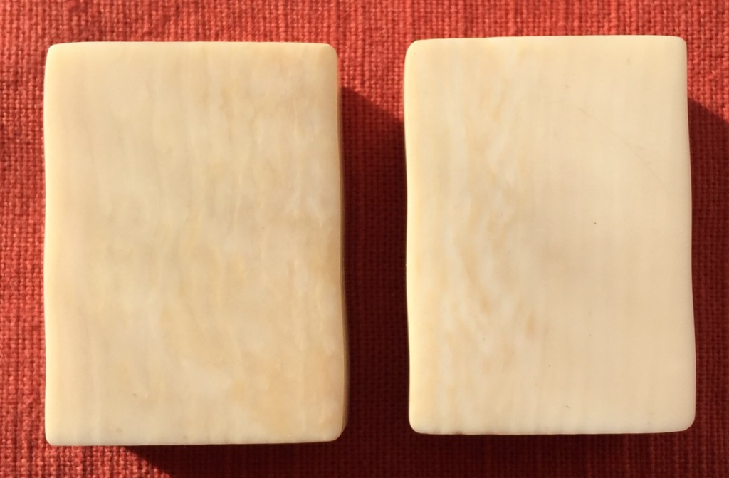 notice the slightly wavy varied tones in these ivory tiles