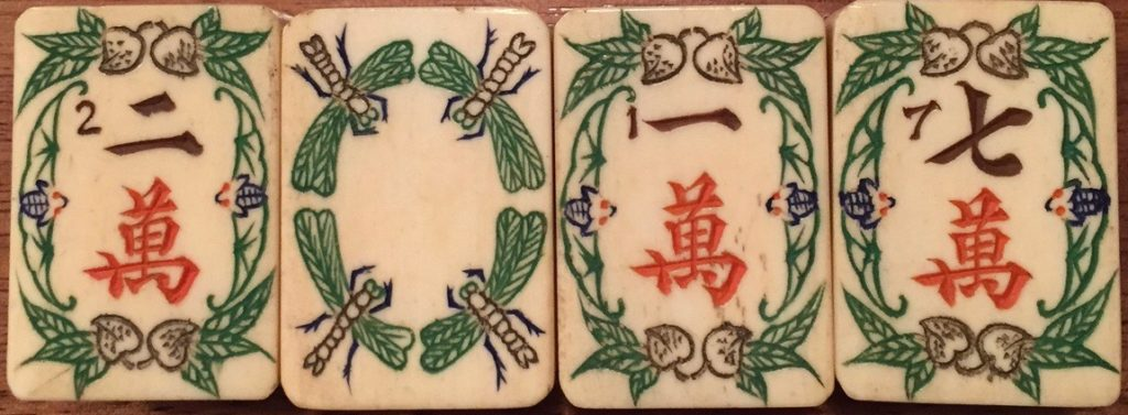 "2017, the 100 year anniversary of the ""discovery' of Mahjong by Joseph P Babcock, on a Shanghai Luck set. Symbols of longevity aboud: the peaches at the top and bottom os the Crak tiles represent longevity, as do the Bats on either side."